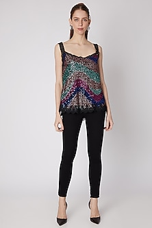 Multi Colored Sequins Embroidered Top by Nipa Badiani