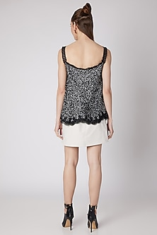 Black Sequins Embroidered Top by Nipa Badiani