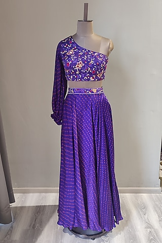 Purple Printed & Embroidered Skirt Set by Ne'Chi
