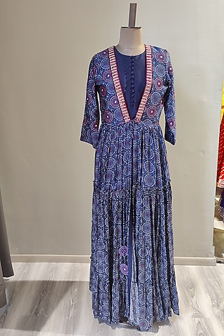 Cobalt Blue Printed & Embroidered Kurta Set With Jacket by Ne'Chi
