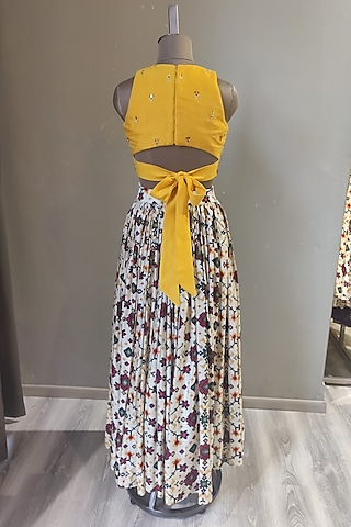 Mustard & White Printed & Embroidered Skirt Set by Ne'Chi
