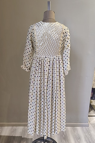 White Printed & Embroidered Tunic Set by Ne'Chi