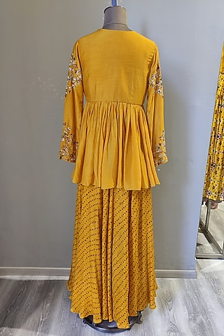 Mustard Printed & Embroidered Skirt Set by Ne'Chi
