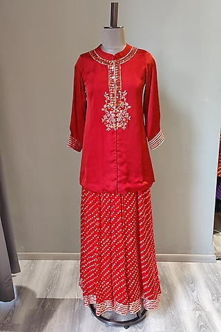 Red Embroidered & Printed Sharara Set by Ne'Chi