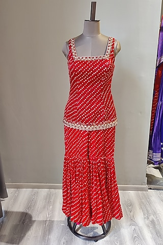 Red Mirror Embroidered & Printed Sharara Set by Ne'Chi