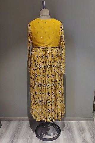 Mustard Printed & Embroidered Kurta Set With Cape by Ne'Chi