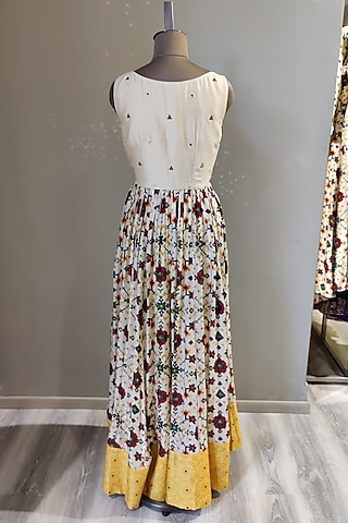 White Printed & Embroidered Gown by Ne'Chi