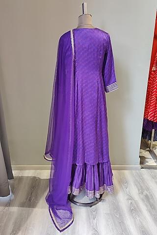 Purple Printed & Embroidered Kurta Set by Ne'Chi