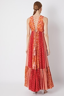 Blush Pink Embroidered & Printed Maxi Dress by NE'CHI