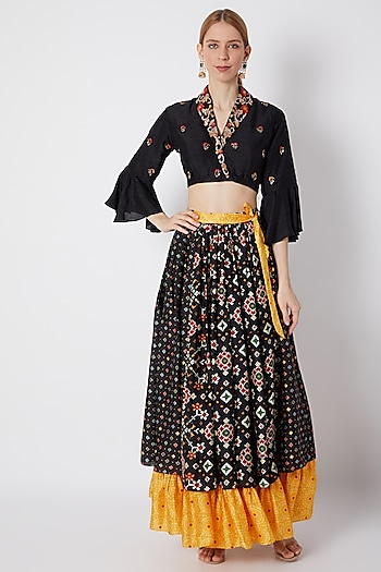 Black Embroidered Crop Top With Printed Skirt by NE'CHI