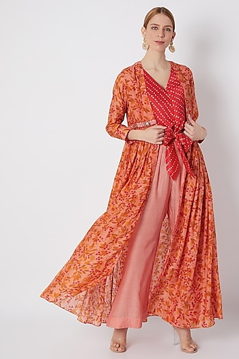 Blush Pink & Red Embroidered Printed Cape Set by NE'CHI