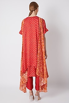Blush Pink & Red Printed Cape With Embroidered Kurta Set by NE'CHI