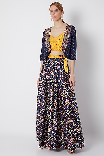 Cobalt Blue Printed Skirt With Cape & Blouse by NE'CHI