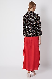 Black Embroidered Printed Jacket With Blouse & Draped Skirt by NE'CHI