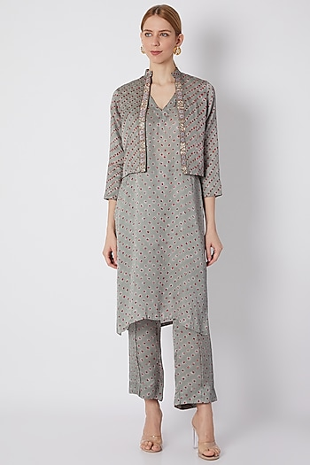 Grey Embroidered Printed Koti Jacket With Kurta & Pants by NE'CHI
