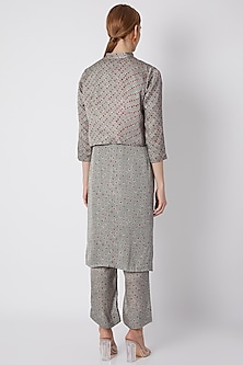 Grey Embroidered Printed Koti Jacket With Kurta & Pants by NE'CHI