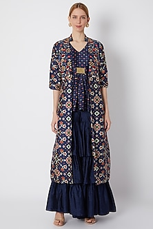 Cobalt Blue Embroidered & Printed Cape Set by NE'CHI