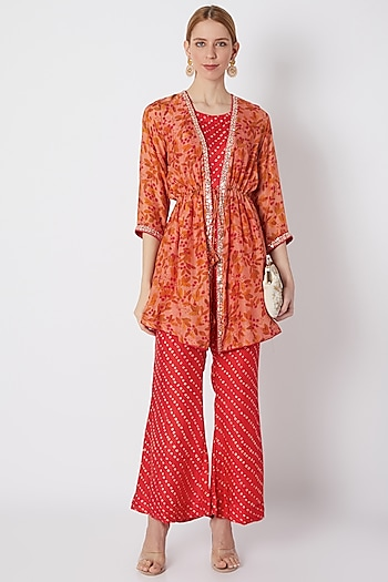 Blush Pink Embroidered & Floral Printed Cape Set by NE'CHI