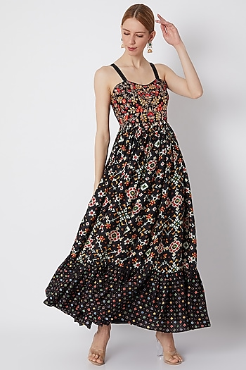 Black Embroidered & Printed Maxi Dress by NE'CHI