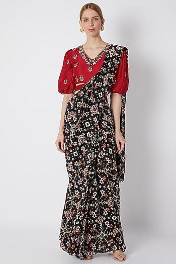 Black Embroidered & Printed Draped Saree Set by NE'CHI
