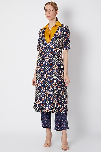 Cobalt Blue Embroidered & Printed Kurta Set With Shirt by NE'CHI