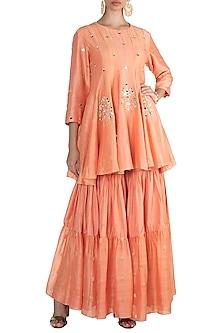 Peach Embroidered Kalidar Kurta With Sharara Pants by NE'CHI