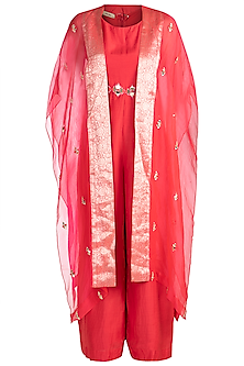 Red Embroidered Jumpsuit With Cape by NE'CHI