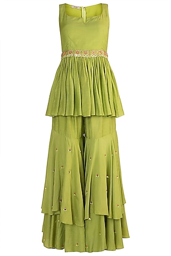 Emerald Green Embroidered Peplum Top With Pants & Belt by NE'CHI