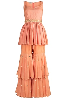Peach Embroidered Peplum Top With Pants & Belt by NE'CHI