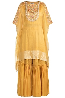 Mustard Yellow Embroidered Cape With Crop Top & Pants by NE'CHI