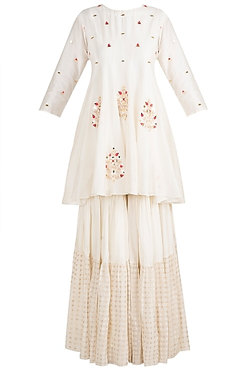 White Embroidered Sharara Set by NE'CHI