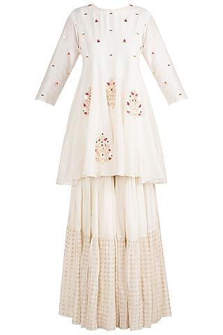 White Embroidered Sharara Set by NE'CHI