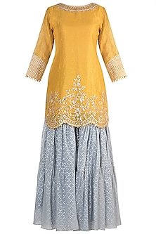 Mustard Yellow Checkered Banarasi Sharara Set by NE'CHI