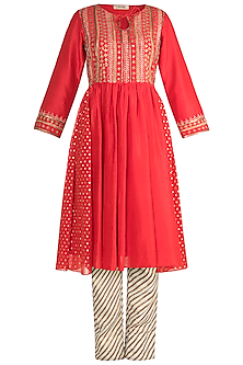 Red Embroidered Kurta With Leheriya Pants by NE'CHI