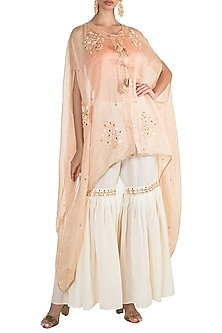 Peach Embroidered Cape With Crop Top & Pants by NE'CHI