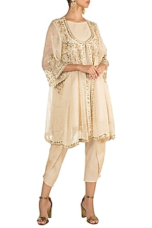 Beige Embroidered Kalidar Jacket With Dhoti Pants & Inner by NE'CHI