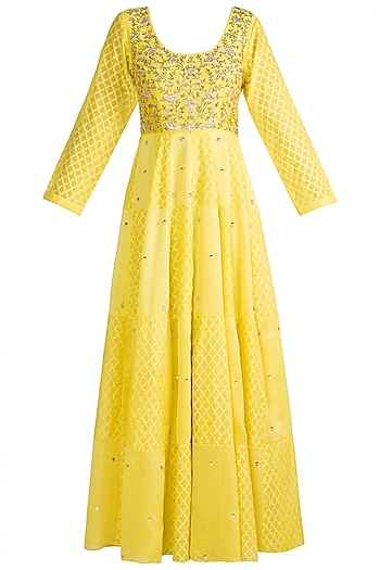 Yellow Gown With Ruffled Dupatta by NE'CHI