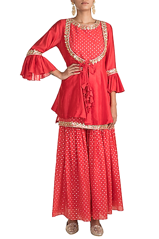 Red Embroidered Kalidar Jacket With Sharara Pants & Inner by NE'CHI