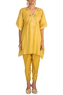 Mustard Yellow Embroidered Kaftan With Dhoti Pants by NE'CHI