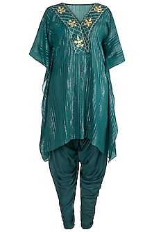 Cobalt Blue Embroidered Kaftan With Dhoti Pants by NE'CHI