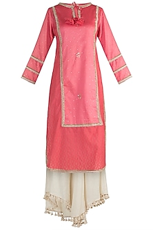 Blush Pink Embroidered Kurta With Pants by NE'CHI