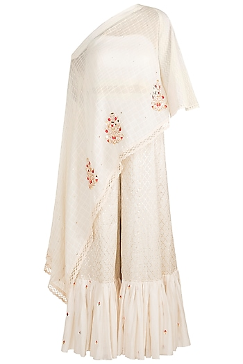 White Embroidered Cape With Crop Top & Pants by NE'CHI
