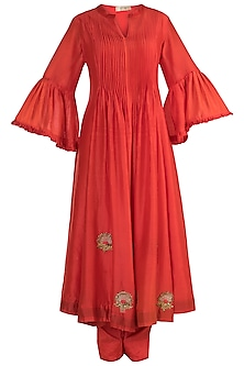 Red Embroidered Pleated Kurta With Pants by NE'CHI