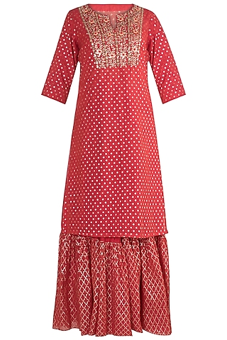 Red Embroidered Sharara Set by NE'CHI