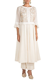 White Embroidered Kalidar Kurta With Attached Koti & Pants by NE'CHI