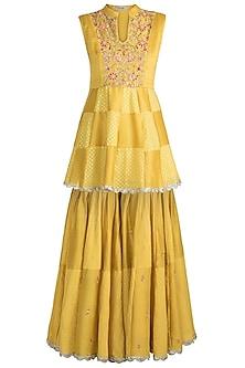 Mustard Yellow Embroidered Peplum Kurta With Sharara Pants by NE'CHI