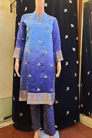 Blue Embroidery Kurta Set by Ne'Chi