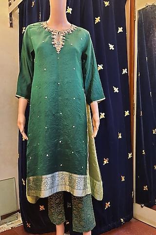 Green Zardosi Embroidery Kurta Set by Ne'Chi