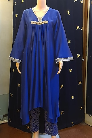 Blue Asymmetrical Embroidered Tunic Set by Ne'Chi