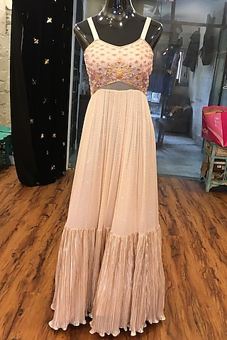 Peach Embroidered Gown by Ne'Chi